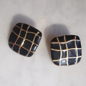 *Vintage* Black&Gold Square Earrings